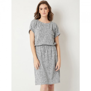 Miss Chase Grey Textured Knee Length Dress
