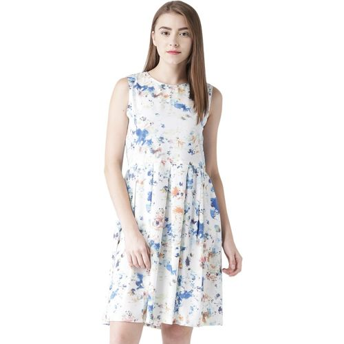 @499 Women's Fit and Flare White Dress