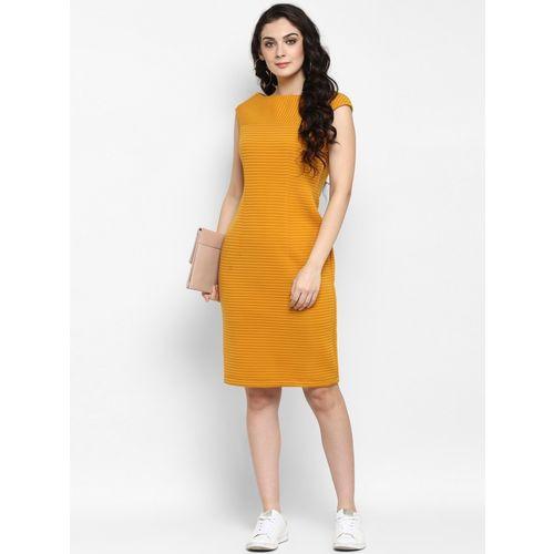Zima leto Yellow Polyester Regular Fit  Dress