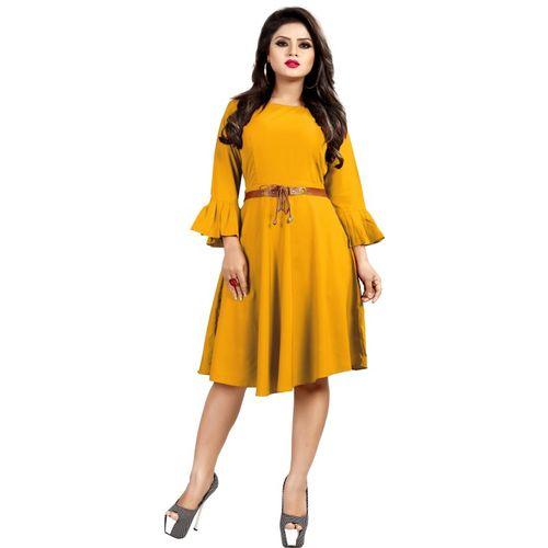 dfe5478487 Buy MARUTINANDAN Women s Skater Yellow Dress online