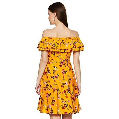 MsFQ Women Yellow Floral Print Off Shoulder Fit and Flare Dress