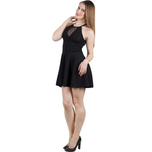 G & M Collections Women's Fit and Flare Black Dress