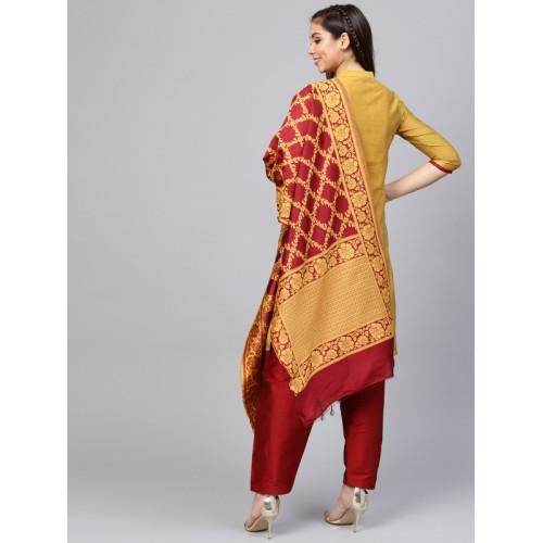 Jaipur Kurti Mustard Yellow & Maroon Chanderi Cotton Solid Kurta with Salwar & Dupatta