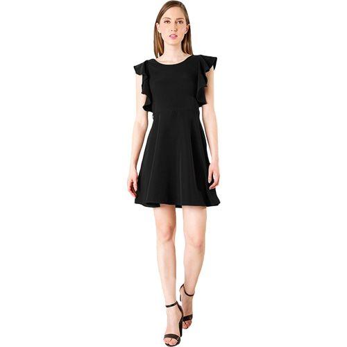Addyvero Women Ruffled Black Dress