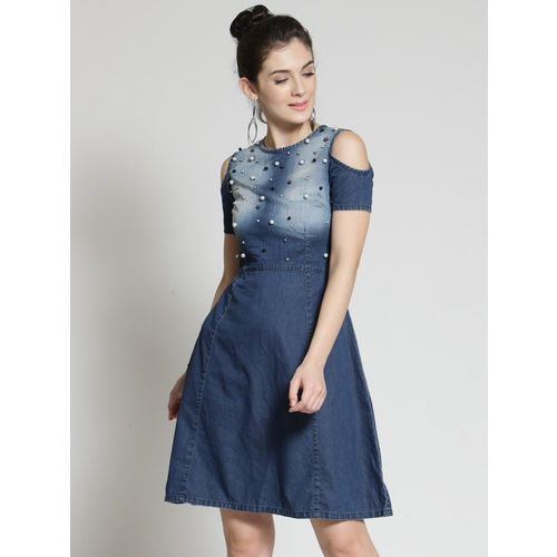plusS Women Blue Denim Embellished Fit and Flare Dress
