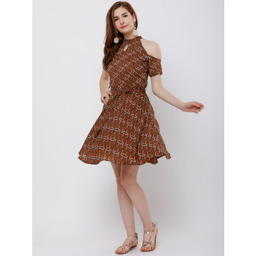 Tokyo Talkies Women Brown Printed Fit and Flare Dress