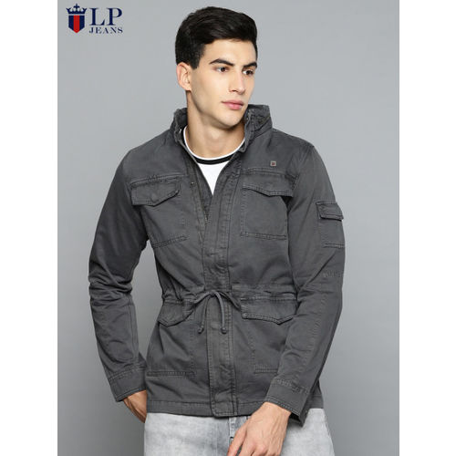 Louis Philippe Jeans Men Grey Solid Hooded Tailored Jacket