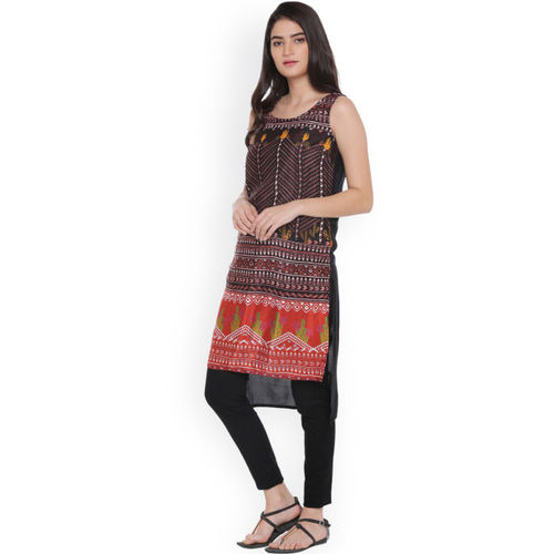 61efb335377 Buy AKKRITI BY PANTALOONS Women Black Printed A-Line Kurta online ...