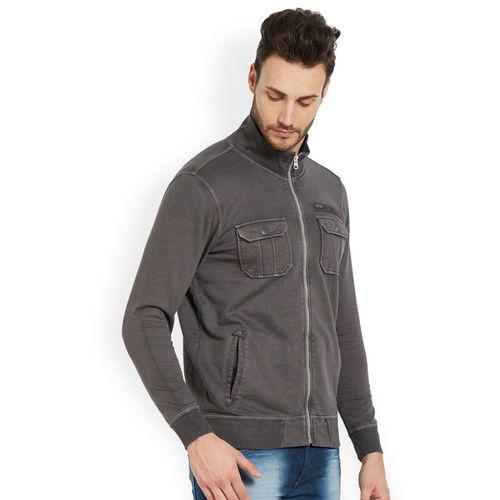 SPYKAR Men Grey Solid Bomber Jacket