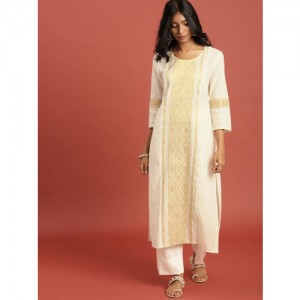 b6617c45109 Taavi Women Off-White   Gold-Toned Woven Design Kasavu Straight Kurta with  Zari
