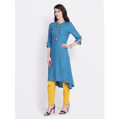 Juniper Women Blue Embellished A-Line Kurta