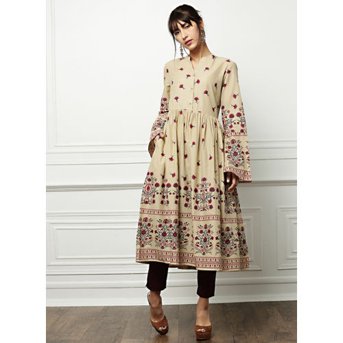 all about you Beige Cotton Printed A-Line Kurta