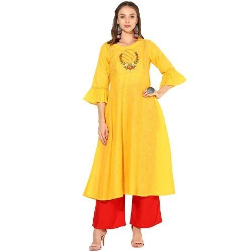 Yellow Embroidered Anarkali Kurta