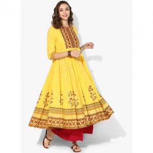 Sangria Yellow Cotton Printed casual Kurta
