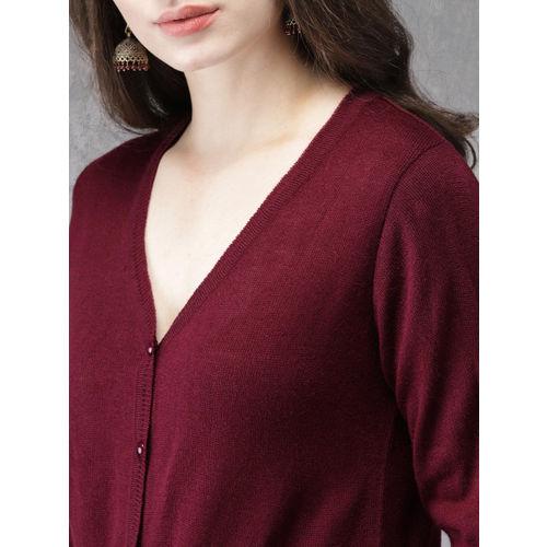 Anouk Women Maroon Solid Cardigan