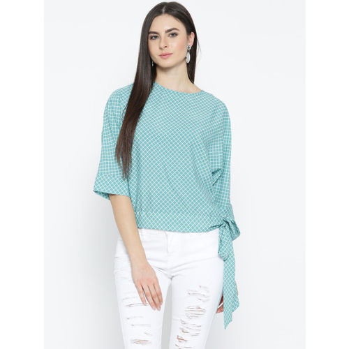 Style Quotient Women Blue & White Checked Boxy Top