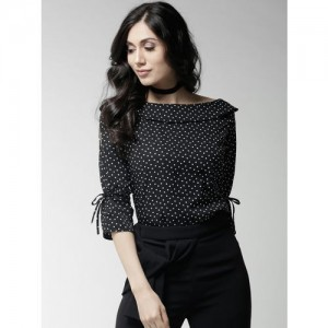 Style Quotient Women Black Polka Dot Print Top