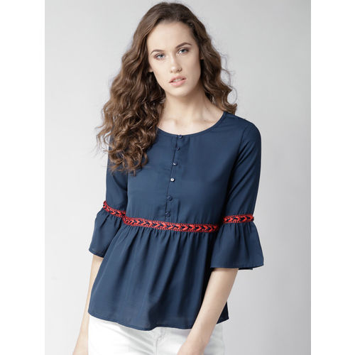 Style Quotient Women Navy Blue Solid A-Line Top