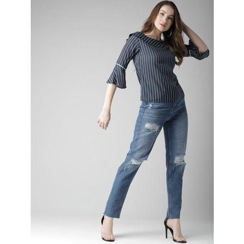 Style Quotient by noi Women Navy Blue & White Striped Top