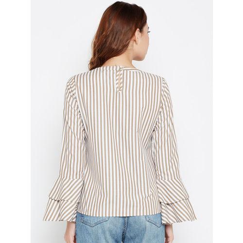 Style Quotient Women White & Beige Striped Top
