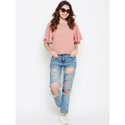 Style Quotient Women Dusty Pink & White Checked Top