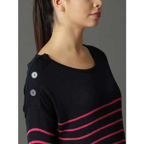 Roadster Women Navy Blue & Pink Striped Pullover