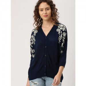 DressBerry Women Navy Blue Self Design Cardigan