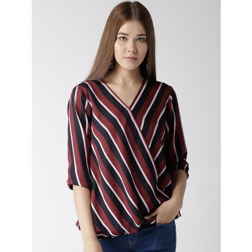 Style Quotient Women Maroon & Navy Striped Wrap Top