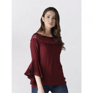 Style Quotient Maroon Rayon Solid Bell Sleeve Regular Fit Top