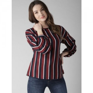 Style Quotient Women Maroon & Navy Striped Top
