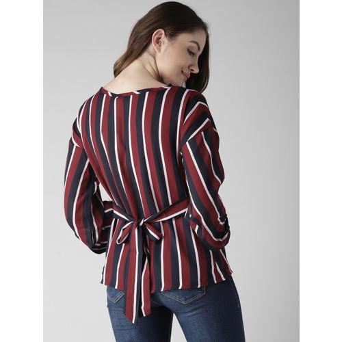 Style Quotient Women Maroon & Navy Striped Top