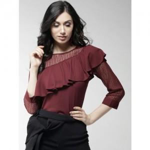 Style Quotient Women Maroon Lace Detail Layered Regular Top