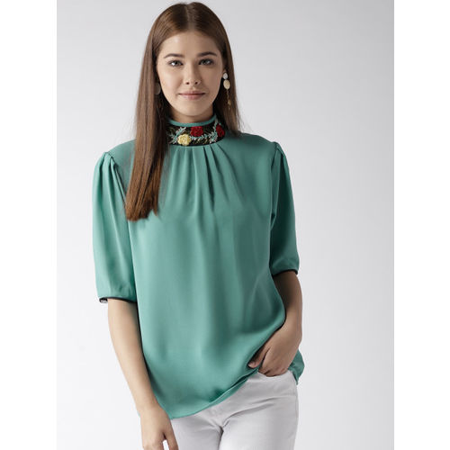 Style Quotient Women Green Solid Top