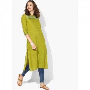 Olive Green Cotton Embroidered Straight Kurta