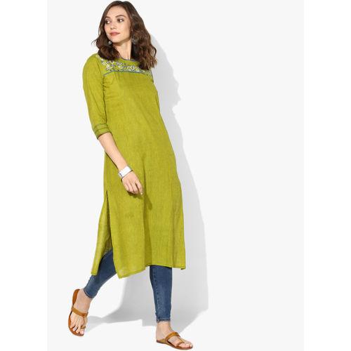 Olive Green Cotton Embroidered Straight Kurta