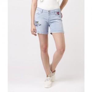 3fb92506be01 Buy Ico Blue Star Light Blue Casual Denim Shorts online