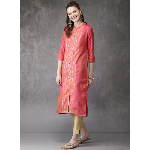 Pink & Gold-Toned Woven Design Straight Kurta