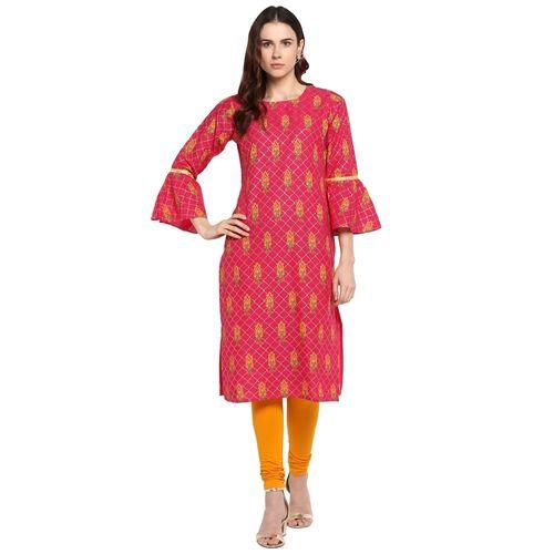 Ahalyaa Women Pink & Yellow Printed Straight Kurta