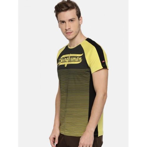 84e70b3abc7 Buy Being Human Yellow Cotton Printed Regular Fit Round Neck T-shirt ...