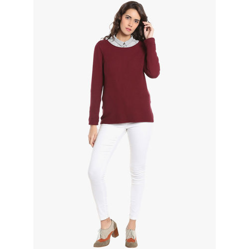 Vero Moda Maroon Self Pattern Sweatshirt