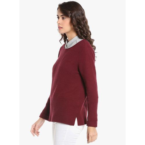 Vero Moda Maroon Self Pattern Sweatshirt