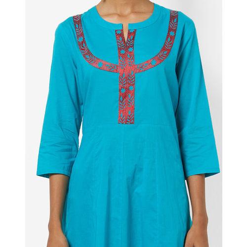 ajio Pure Cotton Flared Kurta with Embroidery