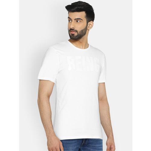 Being Human Men White Printed Round Neck T-shirt