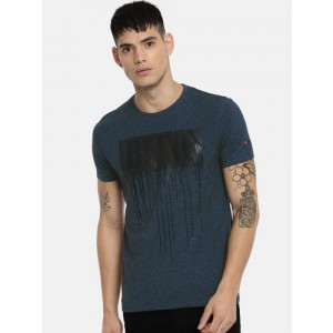 Being Human Men Blue Printed Round Neck T-shirt