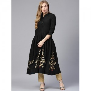 W Women Black & Golden Woven Design A-Line Kurta