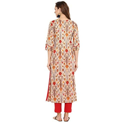 Janasya MultiColour Cotton Printed Straight Kurta