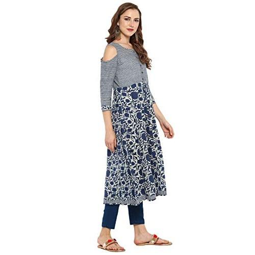 Janasya Blue Cotton Floral Print Regular Fit Anarkali  Kurta