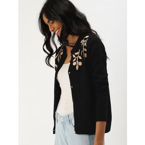 DressBerry Women Black & Beige Self Design Cardigan