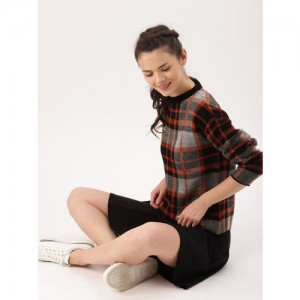 DressBerry Women Black & Grey Checked Pullover