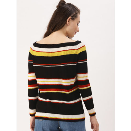 Buy Dressberry Black Yellow Striped Pullover Online Looksgudin